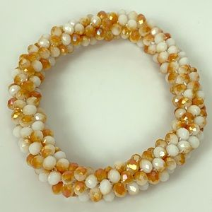 3/$20 Glass Seed Bead Roll on Bracelet white Tan